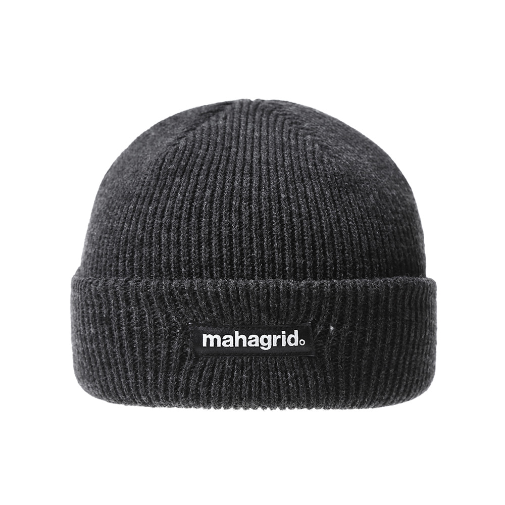 BASIC LOGO SHORT BEANIE[CHARCOAL]