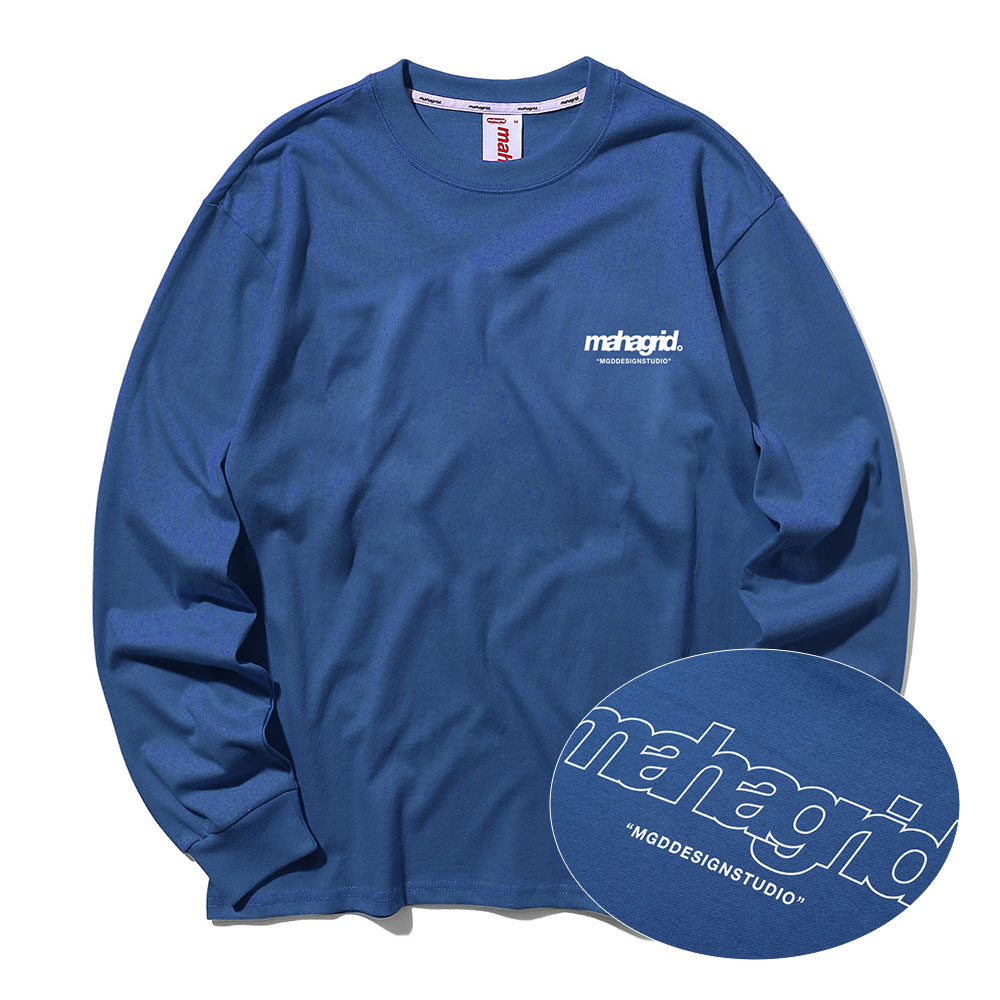 BACK THIRD LOGO LS TEE[NAVY]