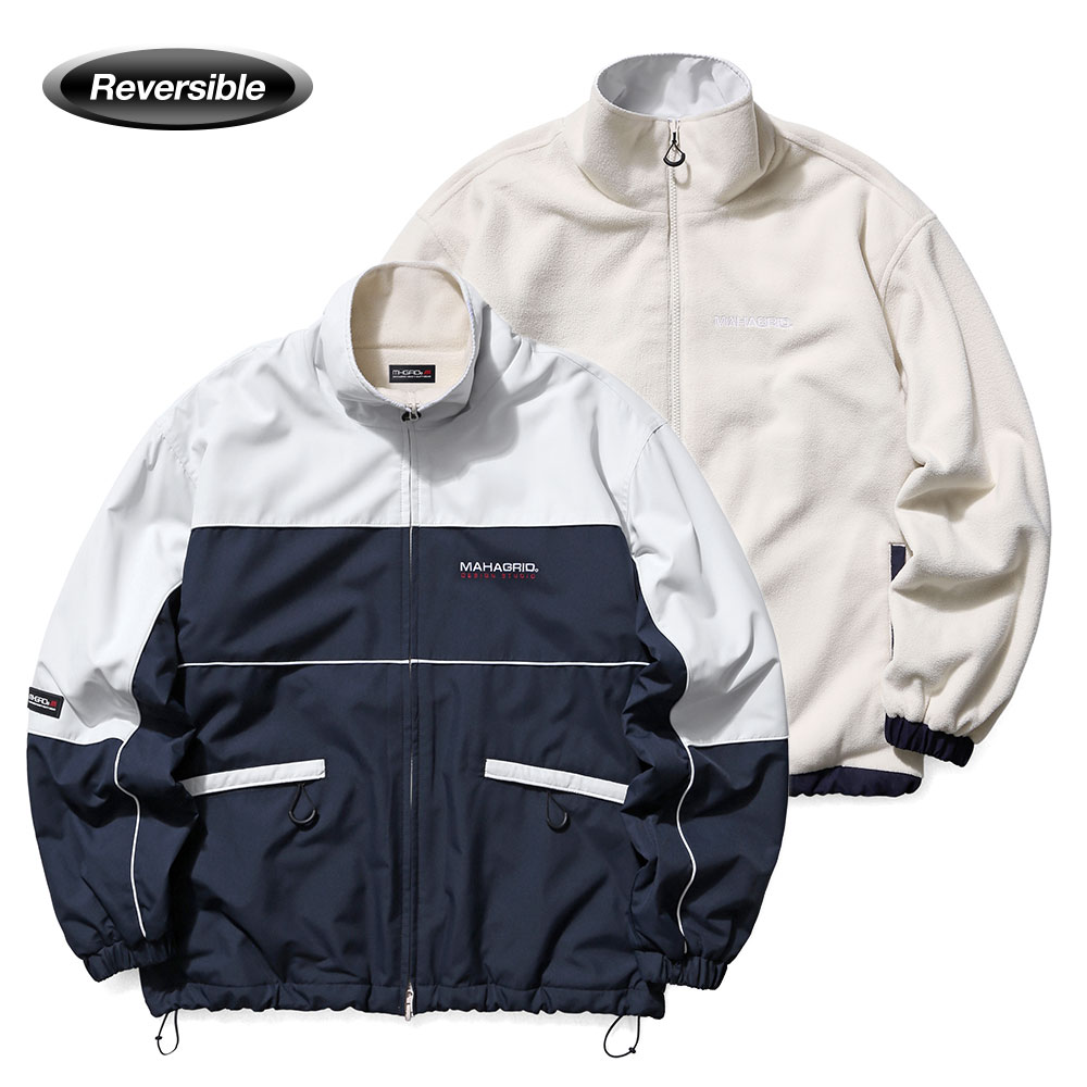 REVERSIBLE FLEECE TRACK JACKET[NAVY]