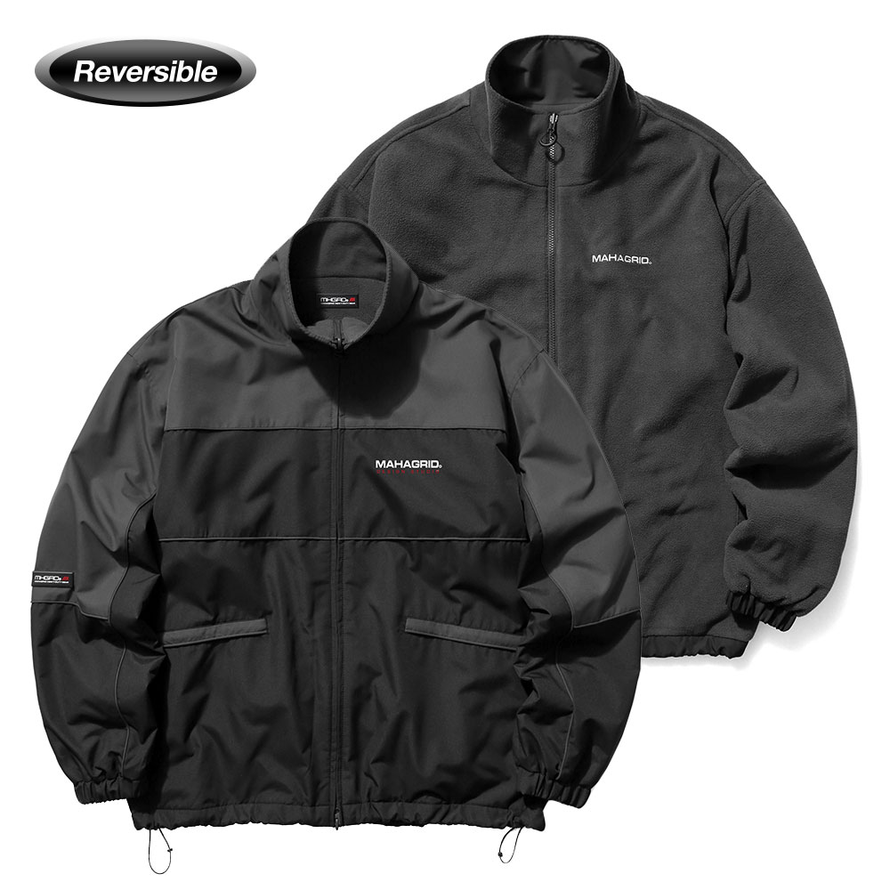 REVERSIBLE FLEECE TRACK JACKET[BLACK]